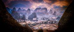 View from Moon Mountain into Yangshuo Valley from www.jonathanphotos.com #JonathanPaulson