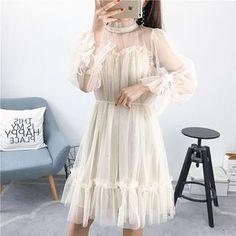 Korean Fashion Dress, Asian Fashion, Fashion Dresses, Sheer Dress, Dress Up, Cute Dresses, Casual Dresses, Simple Homecoming Dresses, Vintage Outfits