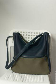 Купить Сумка шоппер синяя хаки на ремне из натуральной кожи 200217 - хаки, оливковый, сумка