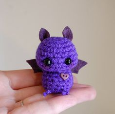 Violet Mini Bat Amigurumi - Kawaii Halloween Decoration by Twistyfishies<3
