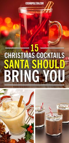 "CHRISTMAS COCKTAILS: There's no better way to get into the holiday spirit than with a cocktail. Try one of these recipes, perfect for Thanksgiving, Christmas, or any holiday party and your taste buds will thank ya! Click through for festive recipes like ""The Mistletoe,"" ""Fireside Choco-Chat,"" and more!"