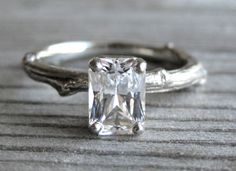 Items similar to Emerald Cut Moissanite Twig Engagement Ring: White, Yellow, or Rose Gold; Forever Brilliant ™ on Etsy Blue Sapphire Rings, Blue Rings, White Sapphire, Sapphire Stone, Bling Bling, Twig Ring, Looks Chic, Dream Ring, Emerald Cut