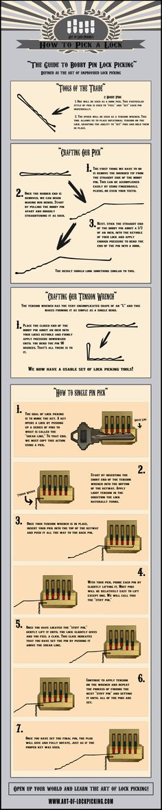 Im not sure id ever need to know this but its pretty cool to know in case your kids lock you out. Or you lose your keys maybe? Im not sure id ever need to know this but its pretty cool to know in case your k… Survival Life Hacks, Survival Tips, Survival Skills, Camping Survival, Bushcraft Camping, Survival Quotes, Urban Survival, Outdoor Survival, Outdoor Camping