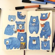 Blue Bear #blue #illustration #moleskine #sketchbook #drawing #doodle #blue…