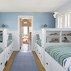 Embrace the Power of Built-ins - 20 Fun, Beachy Bunk Rooms - Coastal Living Mobile Bunk Bed Rooms, Kids Bunk Beds, Coastal Bedrooms, Coastal Living Rooms, Shared Bedrooms, Bunk Bed Designs, Beach House Decor, Home Decor, Beach Houses