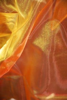 """Iridescent Sheer Fabric Yellow & Orange (28"""" width 3 yards)"""