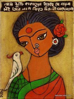 Red tufted cockatoo Indian Artwork, Indian Folk Art, Indian Art Paintings, Paintings I Love, Indian Artist, Madhubani Art, Madhubani Painting, Kalamkari Painting, Bengali Art