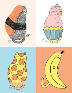 A series of prints that combine cats with food.