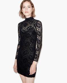 Iridescent lace turtleneck dress - The Kooples