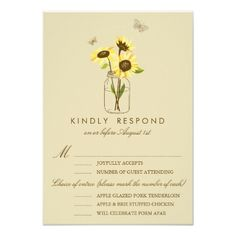 Shabby Chic Wedding RSVP Invitations Vintage Sunflowers on Mason Jar Wedding RSVP Card
