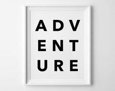 Adventure, poster, print, Typography Poster, Home decor, Motto, Handwritten, life poster, words, inspirational art, wall decor