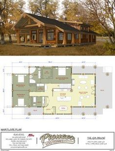 Goldrush - Pioneer Log Homes Midwest.a little reworking, and this could work! Log Home Floor Plans, Cabin House Plans, Ranch House Plans, Log Cabin Homes, New House Plans, Dream House Plans, Small House Plans, Cottage Floor Plans, Barn Homes