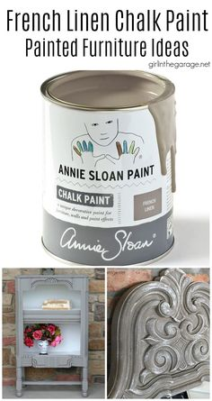 Learn more about the beauty of French Linen Chalk Paint by Annie Sloan and see painted furniture ideas to inspire you! By Girl in the Garage Annie Sloan Chalk Paint Projects, Gray Chalk Paint, Annie Sloan Paints, Chalk Paint Furniture, Metallic Paint, Mirror Painting, Painting Cabinets, House Painting, Painting On Wood