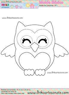 pattern for a cute owl (could be from felt, paper, fabric ...):