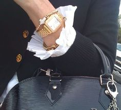 Ruffled cuff, black cardigan, classic accessories. Love the LV Epi leather handbag, need to get mine out!
