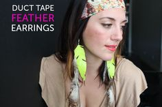 duct tape/feather earrings