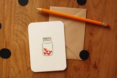 Jar of Hearts Hand Stamped Greeting Card by FreshBakedPaperGoods, $4.00