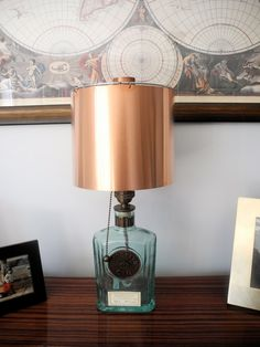 Gin Bottle to Lamp w/Copper Shade.