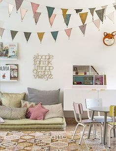 Carpets, rugs and cushions are perfect for creating a play area