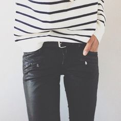 The pinning of waxed black skinnies and draped solid or striped tops is a gratuitous exercise on my part.