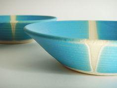 Ceramic pottery plate, one aqua plate by julia paul pottery, Ocean series.  via Etsy.