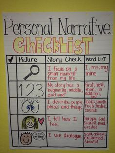 I would use this personal narrative checklist as a resource for students to use while checking their narrative writing. Writing Strategies, Writing Lessons, Writing Process, Writing Ideas, Writing Resources, Kindergarten Writing, Teaching Writing, Literacy, Recount Writing