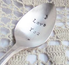 I Love You Spoon With Heart Hand Stamped Vintage Silver Plate Silverplate Silverware Ready To Ship on Etsy, $10.00