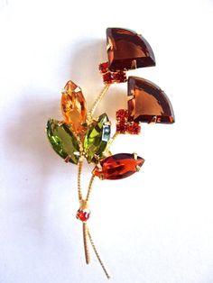 Flower Fan-Cut Rhinestone Brooch Green Topaz by RenaissanceFair