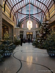 "Four Seasons #Budapest @Four Seasons Hotel Gresham Palace Budapest lobby decorted for Christmas -- ""A Winter Wonderland #hotel #luxury"
