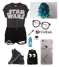 """Vidcon outfit"" by lesleyrandom16 ❤ liked on Polyvore featuring Boohoo, Converse, Anya Hindmarch, Sharpie and Kevin Jewelers"