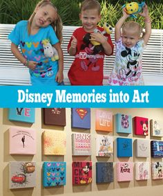 A great way to turn your Disney memories into a DIY Disney art wall! Save those kids shirts and memories! Disney Vacation Planning, Disney World Vacation, Disney Trips, Disney Parks, Disney Diy, Disney Crafts, Disney Dream, Disney Stuff, Disney Playroom
