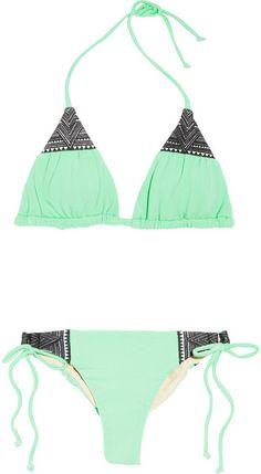 Mara Hoffman Embroidered Triangle Bikini in Green (mint)