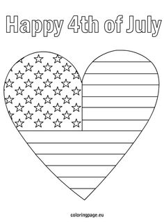4th of July patriotic heart coloring page