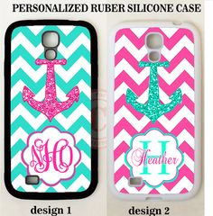 TEAL PINK CHEVRON ANCHOR MONOGRAM PHONE Case For Samsung Galaxy S7 S6 5 NOTE 5 4 #UnbrandedGeneric