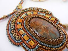 Bead Embroidery necklace  Terracotta green door NoraTordaiJewelry, Ft18500.00