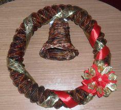 Pletenie z papiera: Vianočný venček na dvere