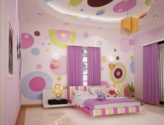 Bedroom, Cute Teenage Bedroom Ideas With Amazing Colorful Bed Frame Plus Comfortable White Bed Sheet And Unique Yellow Pendant Lamp Also Soft Large Curtains For Girls Bedroom: Very Fresh Teenage Bedroom Ideas
