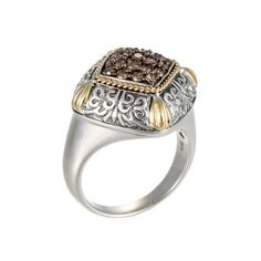 Brown Diamond Carved Square Ring in Yellow Gold & Sterling Silver (EFFY1 1069571)