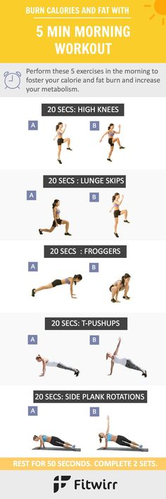 Kick your start with this 5-Minute Fat Blasting  Morning Workout. Fire your fat burning hormone  and rev up your metabolism in 5 minutes before shower.