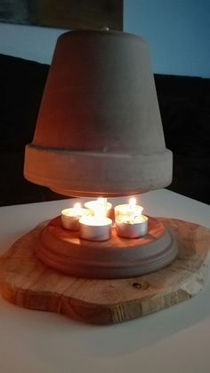 Tealight oven build yourself - an alternative heating Candle Heater, Diy Table, Table Lamp, Photomontage, Oven Canning, Nuts And Washers, Radiant Heat, Cement, Flower Pots