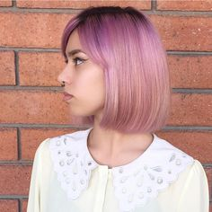 lavender bob with side parted bangs Bob Hairstyles With Bangs, Bob With Bangs, Chin Length Cuts, Parted Bangs, Ombre Bob, How To Style Bangs, Trending Haircuts, Hair Trends, New Hair