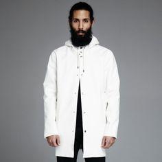 stutterheim, stockohlm, white, raincoat, rainwear, regnjacka, online
