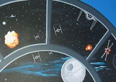 Star Wars Mural with tie fighter, x wing, and death star