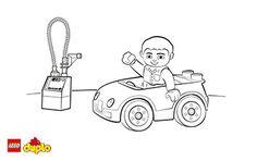 LEGO® DUPLO® farvelægningsside med bil og mange andre motiver