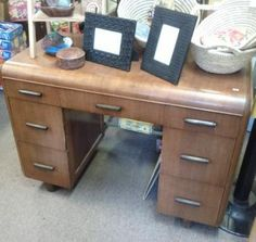 Mahogany Waterfall Desk with Bakelite Pulls - http://get.sm/atSjS3D #tradebank Antiques,Knoxville TN