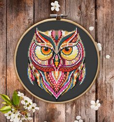 Mandala Owl Cross Stitch Pattern for Instant Download 200