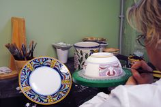 "Work in progress - Decoration ""Farfalle""  Hand painted #italianceramics #handmade #madeinitaly #workinprogress"