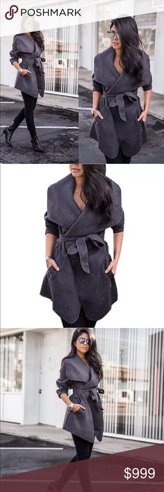 Preview! Charcoal Gray Belted Trench Coat Preview! Charcoal Gray Belted Trench Coat • Also Available in Black & Khaki in separate listings. Coming Soon! Like this listing to be notified upon arrival Jackets & Coats Trench Coats