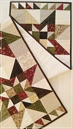 Fall Table Runner Quilt Pattern PDF Scrappy Star Fat Quarter Wall Hanging Christmas French Country Primitive Instant Download