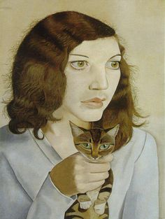 """Catmota on Twitter: """"Girl with kitten (1947) Lucian Freud more works by this artist: http://t.co/CuXPCMvnLM … … #art http://t.co/fBFrpLs4su"""""""